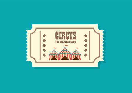 Vintage retro circus ticket. Vector illustration. Flat style design