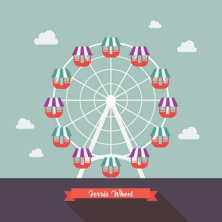 Carnival Ferris Wheel. Flat style design Illustration