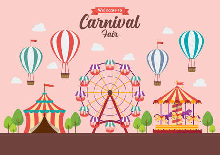 Welcome to Carnival Fair. Vector illustration. Flat style design, Amusement park, circus and fun fair theme set, with roller coasters, carousels, castle, hot air balloon