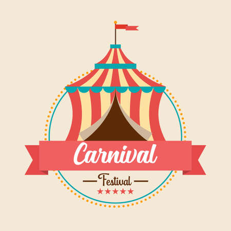 Carnival festival logo badge with Circus tent. vector illustration Illustration