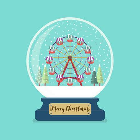 Ferris wheel in Merry christmas glass ball. Vector illustration