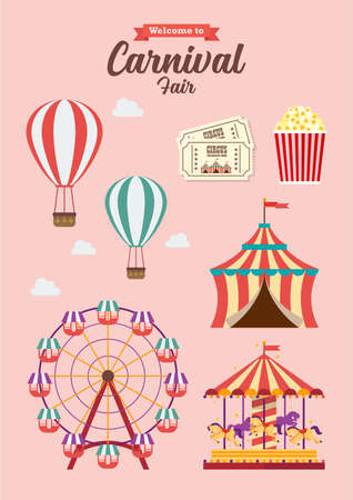 Carnival Festival Collection Vector illustration. Flat style design, Amusement park, circus and fun fair theme set, with roller coasters, carousels, castle, hot air balloon Illustration