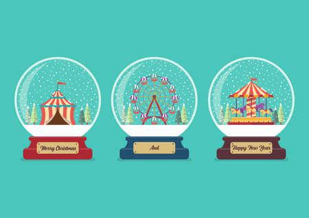 Set of Carnival fair glass ball collection. Christmas gift. Vector illustration