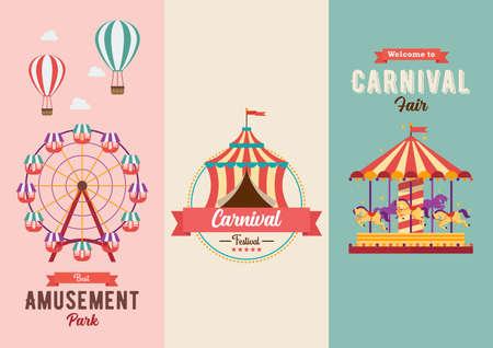 Set of Fun fair and Carnival theme banners. Vector illustration. Flat style design, Amusement park, circus and fun fair theme set, carousels, hot air balloon