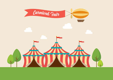 Circus tent vector illustration. funfair carnival in flat style