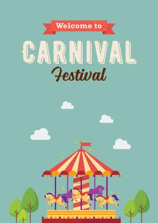 Carnival festival colorful carousel. merry-go-round. funfair carnival poster. vector illustration Illustration