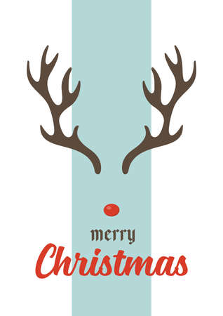 Merry christmas greeting card with antlers. vector illustration Illustration