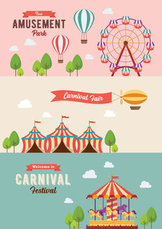 Collection of Carnival theme banners. Vector illustration. Flat style design, Amusement park, circus and fun fair theme set, carousels, hot air balloon Illustration