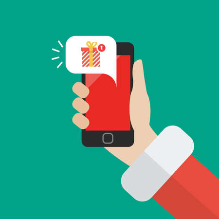 Santa Claus holding smartphone with gift box notification. Vector illustration