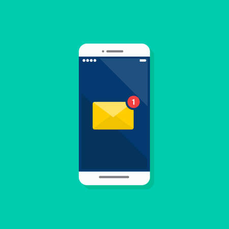 Email notification on smartphone. Vector illustration
