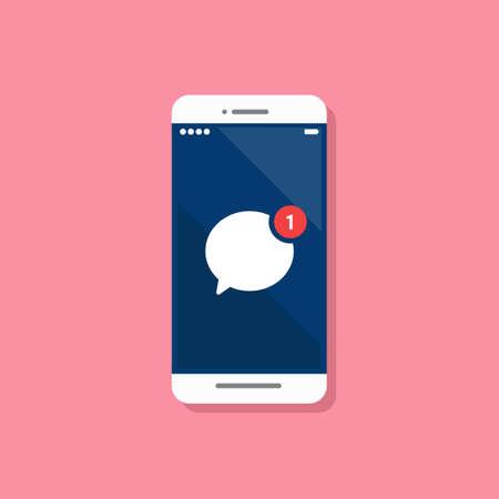 Message notification on smartphone. Vector illustration