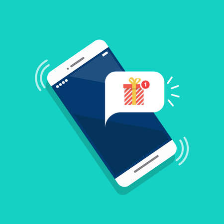 New gift box notification on the smartphone screen. Vector illustration