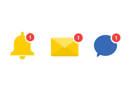 Social media notification set icons. Message alert symbol collection. vector illustration