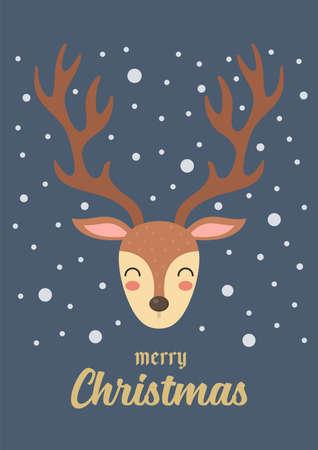 Christmas Reindeer gift card. Vector illustration. Cute cartoon graphic design