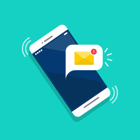 New email notification on the smartphone screen. Vector illustration