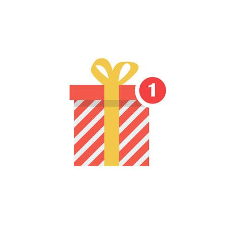 Notification gift icon. Christmas alert symbol. vector illustration