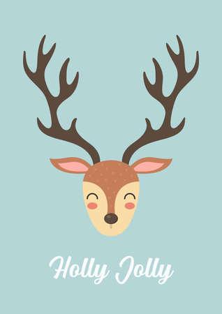 Cute christmas Reindeer greeting card. Vector illustration. Cute cartoon graphic design