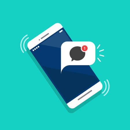 New message notification on the smartphone screen. Vector illustration
