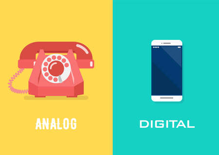 Retro telephone in analog age and smartphone in digital age. Vector illustration