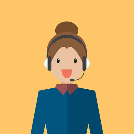 Businesswoman working in call center. Flat style vector illustration