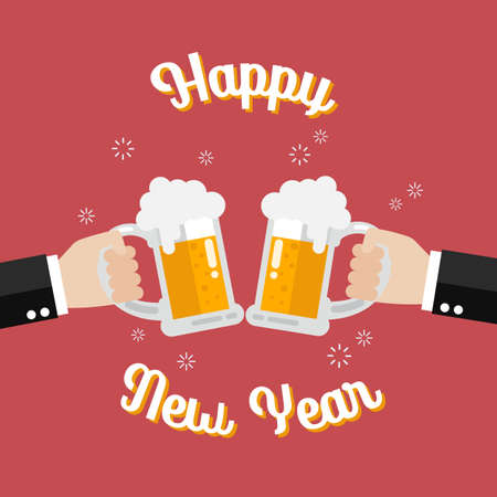 Happy new year poster Toasting glasses of beer. Vector Illustration 向量圖像