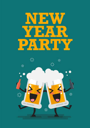 Two drunk beer glasses character New year party. Vector illustration