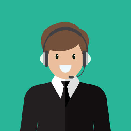 Businessman working in call center. Flat style vector illustration