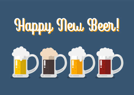 Glasses of light and dark beer. Happy new beer Greeting card. Vector illustration