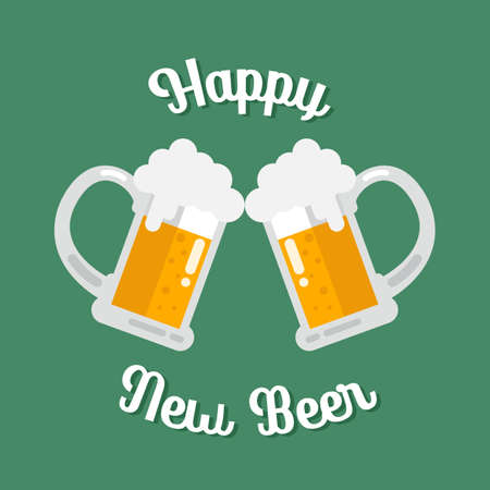 Happy new beer Toasting glasses of beer. Vector Illustration
