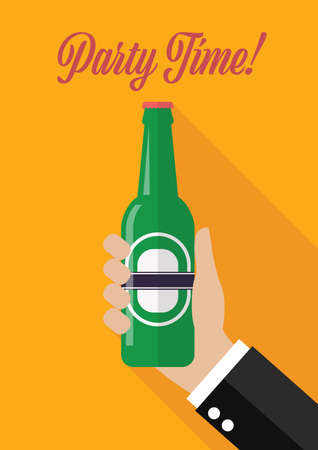 Hand holds a bottle of beer Party time poster. Invitation greting card vector illustration
