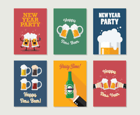 Happy new beer gift cards collection. Happy new year greeting card set. Vector illustration