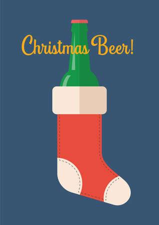 Bottle of Beer in Christmas Stocking. Greeting card vector illustration Illustration
