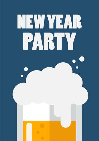 New year party letter with glass of beer. New year poster invitation. Vector illustration