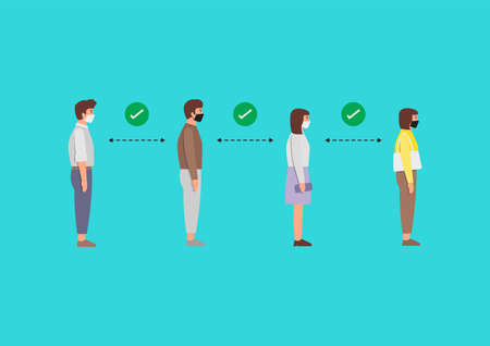 People in medical masks standing in line against at a safe distance. Prevent Covid-19 spread in the community. vector illustration.
