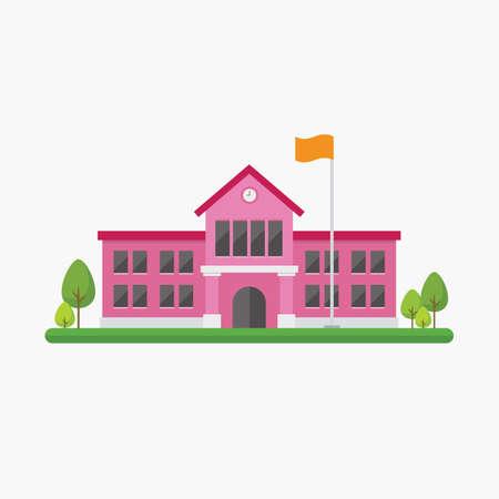 School building in flat style. Vector illustration