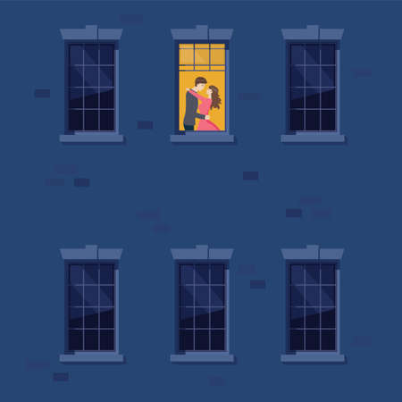 Apartment building with couple are kissing. vector illustration. Vetores