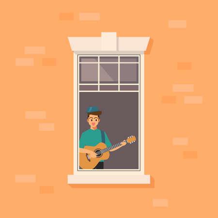 Apartment window with man playing guitar. vector illustration. Ilustração