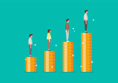 Peoples standing on stacks of coins as graph up. Vector illustration 矢量图像