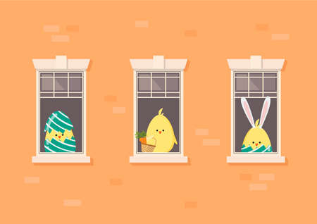 Apartment building facade with neighbor easter chickens in open windows. vector illustration. 矢量图像