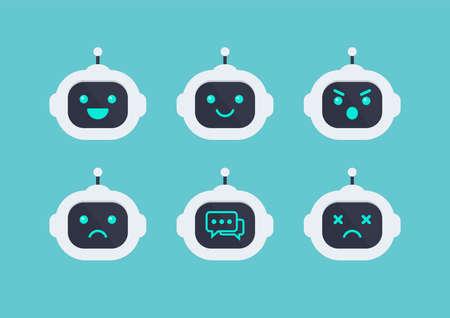 Robot head avatar emotion set. Future machine robot. Flat style design. Vector illustration