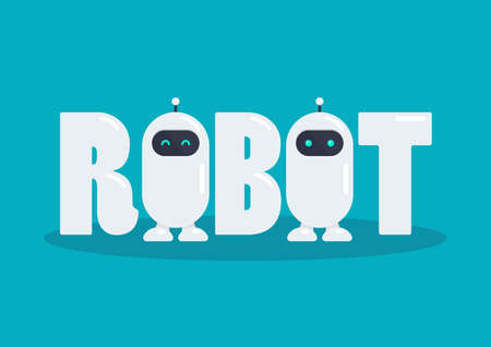Robot word with two cute robot characters. Vector illustration. Graphic design