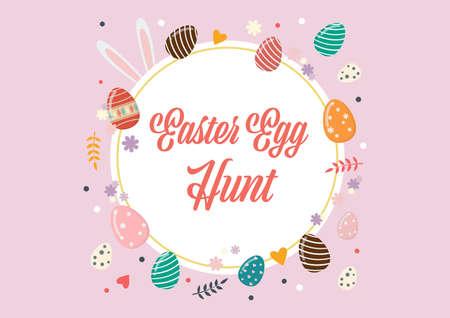 Easter egg hunt poster. Vector illustration