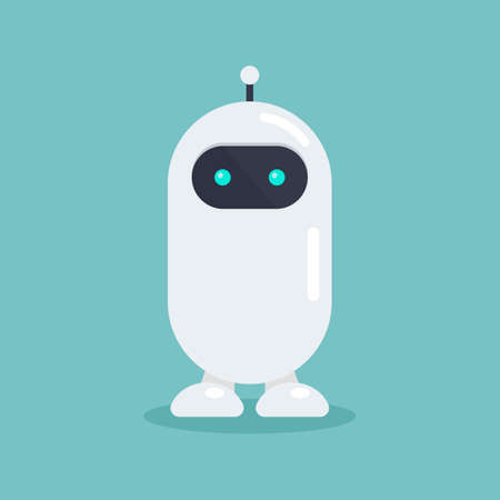 Cute robot in flat style. Vector illustration. Graphic design