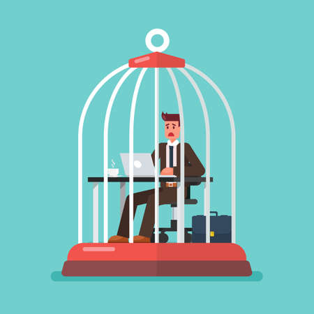 business man working at desk trapped inside birdcage. Stress at work concept. Vector illustration