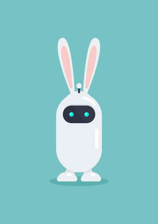 Cute robot wearing bunny ears mask in flat style. Vector illustration. Graphic design