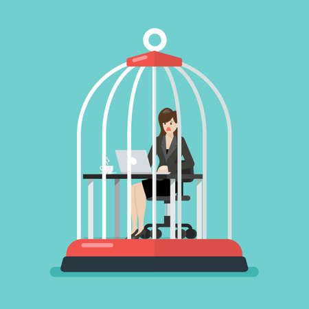 business woman working at desk trapped inside birdcage. Stress at work concept. Vector illustration 矢量图像