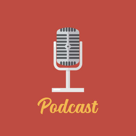 Podcast  design microphone flat icon. Vector illustration
