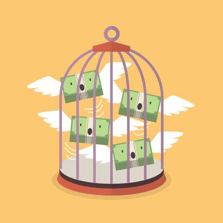 Flying money in bird cage. Financial concept. vector illustration
