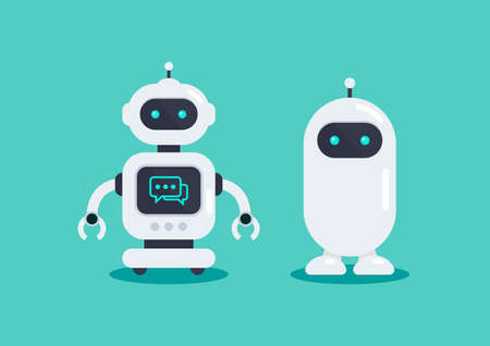 Two robots in vector illustration. Graphic design in flat style