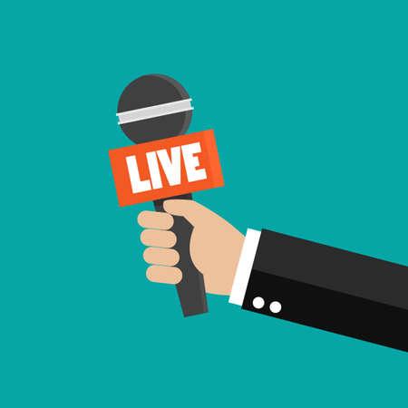 Journalist hand holding microphones performing interview. Vector illustration 矢量图像